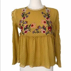 Zara Gold Mustard Floral Embroidered Peplum Shirt